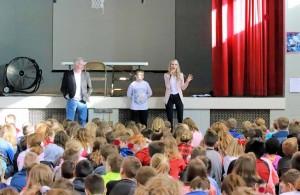 Sarah, Bob and Matthew speaking to schools.